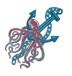Violet cuttlefish or octopus with wavy arms vector