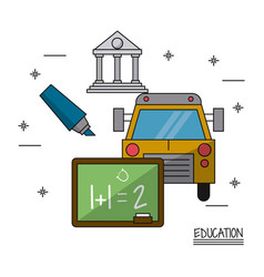 White background poster of education with icons of vector
