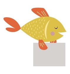 Wild animal fish strike with clean plate board vector