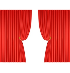 Open red theatre curtains vector