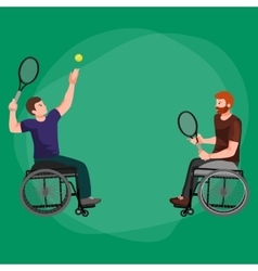 Disabled athlete on wheelchair play tennis sport vector