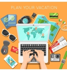 Planning of vacation with laptop vector