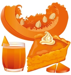 Pumpkin pie and juice vector