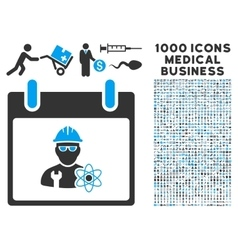 Atomic engineer calendar day icon with 1000 vector