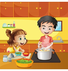 A young girl and boy at the kitchen vector