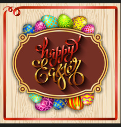 Multi colored easter eggs on a wood background vector