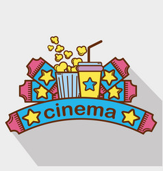 Cinema with popcorn soda and tickets vector
