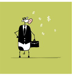 Funny bull businessman with suitcase sketch vector