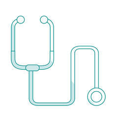 Blue silhouette shading cartoon stethoscope vector