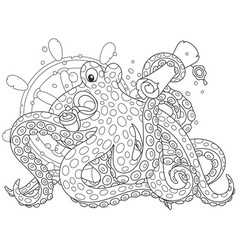 Sea pirate octopus vector