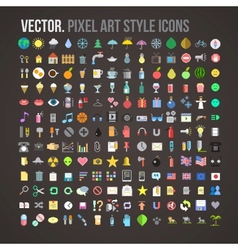 Color pixel art style icons set vector