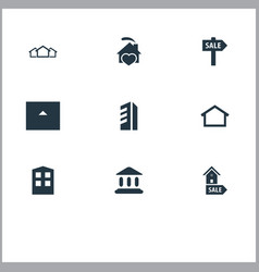 Set of simple real icons vector
