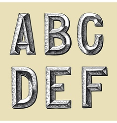 original hand draw sketch alphabet design vector image