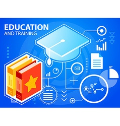 Bright graduate cap and books on blue backgr vector