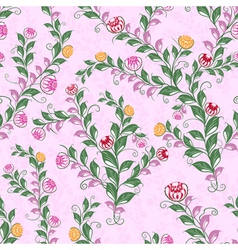 Floral seamless pattern with flowering plants vector