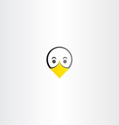 Funny bird duck face icon vector