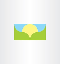 Landscape banner background sun and mountain vector