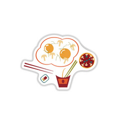 Assembly paper stickers on a white fast food vector