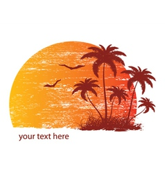 Vintage summer background with palm trees and vector