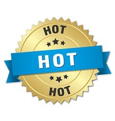 Hot 3d gold badge with blue ribbon vector