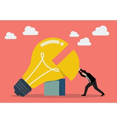 Businessman pushing missing piece in big lightbulb vector
