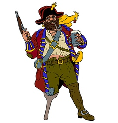 Fearsome pirate with a parrot vector