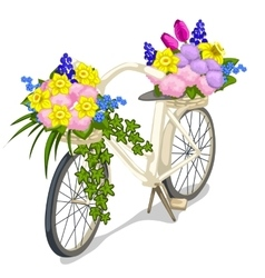 Bicycle decorated with flowers on white background vector image