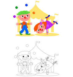 boy and girl funny clown vector image vector image