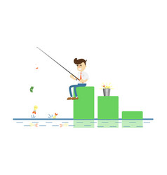 Businessman with fishing rod icon vector
