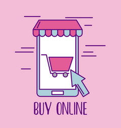 buy online mobile phone cart shopping application vector image