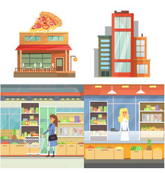 different stores buildings supermarket set flat vector image