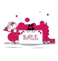 Fashion girls in sale campaign - vector image