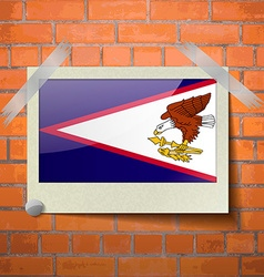 Flags american samoa scotch taped to a red brick vector