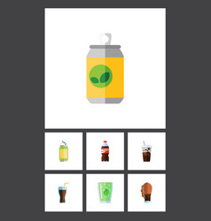 Flat icon beverage set of fizzy drink drink cup vector