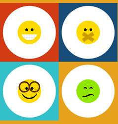 flat icon expression set of hush pleasant frown vector image vector image