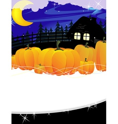 Forest lodge and a pile of pumpkins vector