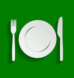 Fork knife and plate sign paper whitish vector
