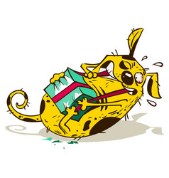 fun yellow dog opens tear gift box vector image