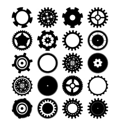 gears silhouette over white background vector image vector image