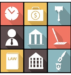 Legal law and justice icon set in Flat Design vector image