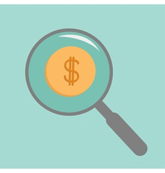 Magnifier and gold coin with dollar sign Flat vector image