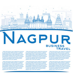 Outline nagpur skyline with blue buildings and vector