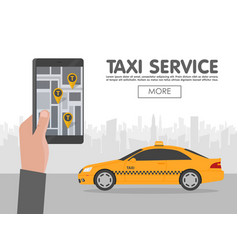 Phone with interface taxi on screen on background vector