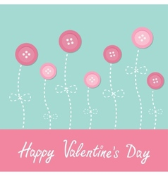 Pink button flowers Dash line stem with bow Love vector image