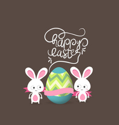 retro card with striped easter eggs and bunny vector image vector image
