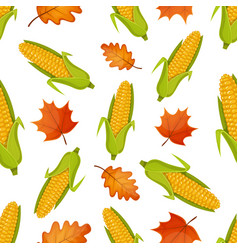 seamless pattern with corn vector image vector image