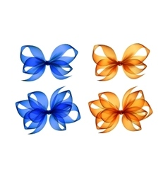Set of colored orange yellow blue gift bows vector