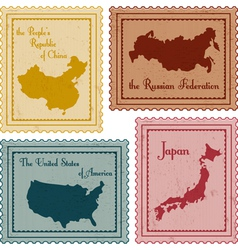 set of vintage stamps2 vector image