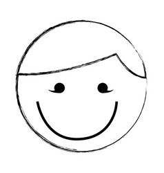 Sketch draw round man face cartoon vector
