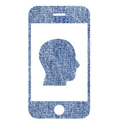 smartphone contact human portrait fabric textured vector image vector image